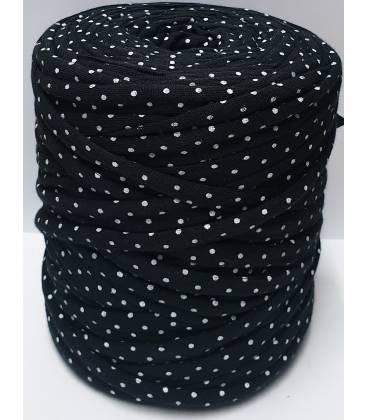 Bobina trapillo 13cm estampado Negro con puntos Blancos